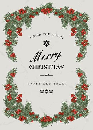 cartoline vittoriane: Vintage cornice di Natale con rami di pino e bacche di Holly. Illustrazione vettoriale.