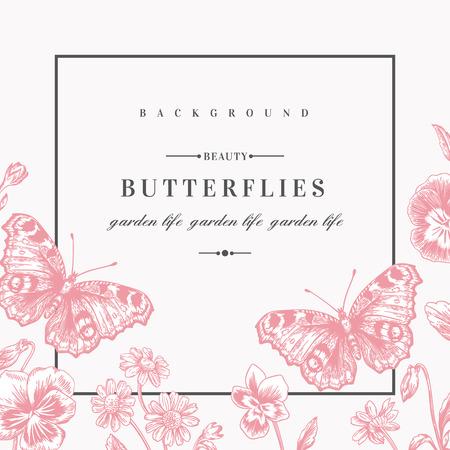 夏の花とビンテージ スタイルの蝶ベクトル フレーム。パンジー、デイジー。ピンク色です。