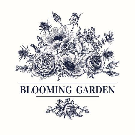 Uitstekende kaart met een boeket bloemen op een witte achtergrond. Anemone, nam toe, Eustoma, eryngium. Vector illustratie. Zwart en wit.
