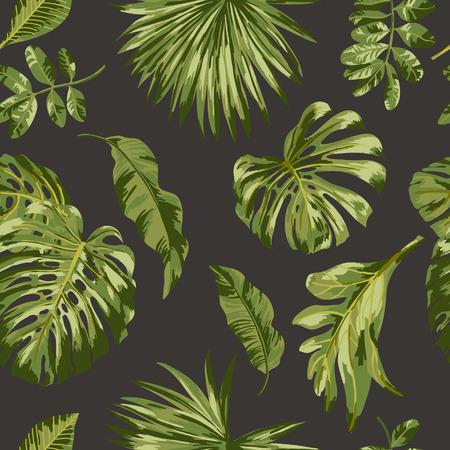Naadloos exotische patroon met tropische bladeren. Vector illustratie.