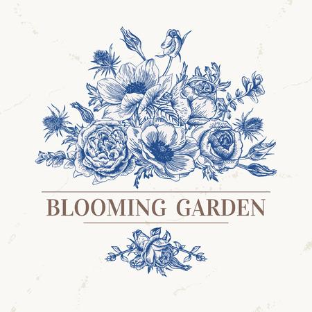 バラ、ブルーのアネモネの花束とビンテージのロマンチックなベクトルの背景。アネモネ、バラ、トルコギキョウ、エリンジウム。ベクトルの図。  イラスト・ベクター素材
