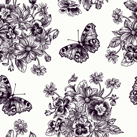 Vintage vector seamless pattern with a bouquet of flowers and butterflies. Violet, daisy, dahlia. Black and white illustration. Illustration
