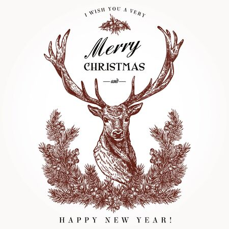 lithograph: Vintage Christmas card. Deer and pine wreath. Merry Christmas and a Happy new year. Vector illustration.