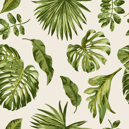 Seamless exotic pattern with tropical leaves on a white background. Vector illustration.
