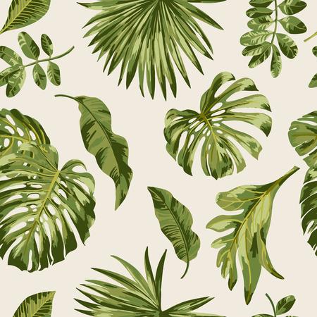 Motif exotique Seamless avec des feuilles tropicales sur un fond blanc. Vector illustration. Banque d'images - 56800082