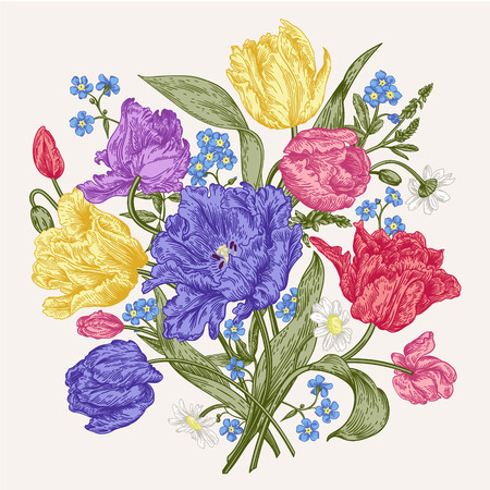 etch: Bouquet of spring flowers on a white background in vintage style. Parrot tulips, me-nots, daisies. Vector illustration. Vivid colors.