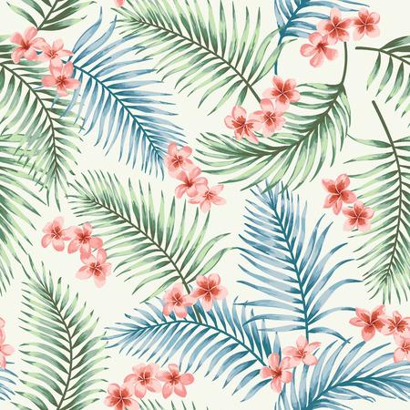 Naadloos exotisch patroon met tropische bladeren en bloemen. Vector illustratie. Stock Illustratie