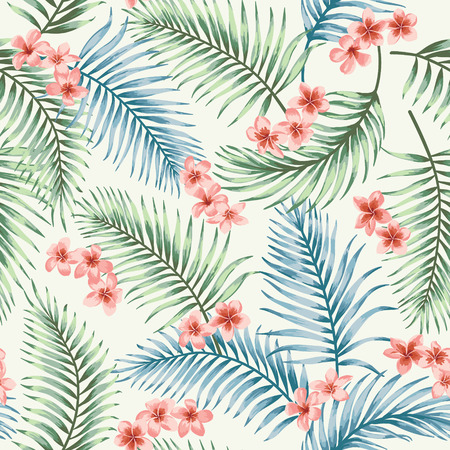 Seamless exotic pattern with tropical leaves and flowers. Vector illustration. Zdjęcie Seryjne - 56800084