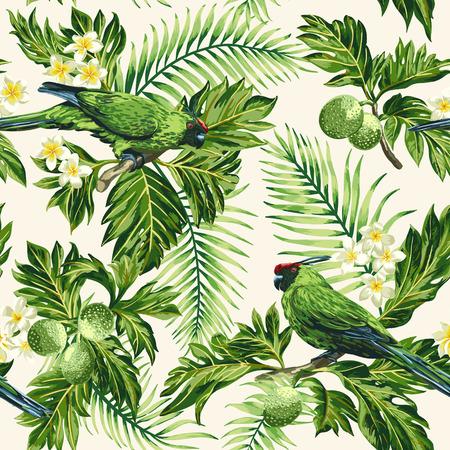 Seamless exotic tropical pattern with leaves, fruits, flowers and birds. Breadfruit, palm, plumeria, parrots. Vector illustration. 일러스트