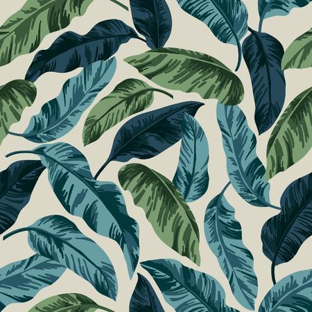 ビンテージ スタイルの熱帯の葉でシームレスなエキゾチックなパターン。ベクトルの図。