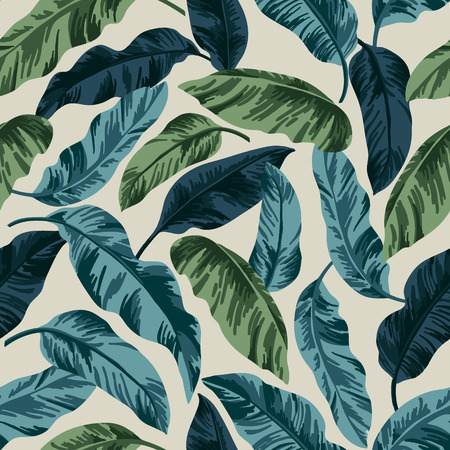 Seamless exotic pattern with tropical leaves in vintage style. Vector illustration.