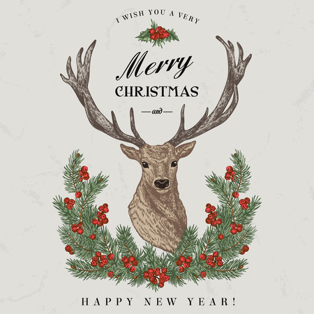 lithograph: Vintage Christmas card. Deer, pine wreath and holly. Merry Christmas and a Happy new year. Vector illustration.