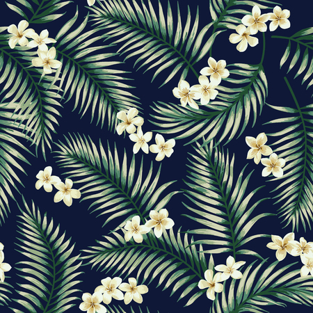 熱帯の葉と花のシームレスなエキゾチックなパターン。ベクトルの図。