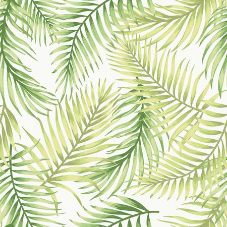 palmeras: patrón transparente con hojas exóticas tropicales. Ilustración del vector. Vectores