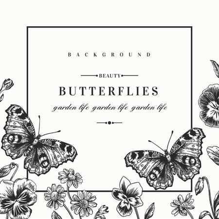 夏の花とビンテージ スタイルの蝶ベクトル フレーム。パンジー、デイジー、バイオレット。黒と白のイラスト。