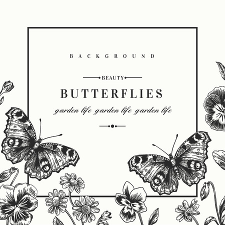 Vector frame with summer flowers and a butterfly in vintage style. Pansies, daisies, violet. Black and white illustration.