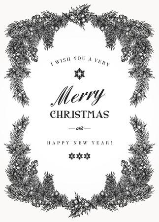 Marco de la Navidad de la vendimia con ramas de pino y bayas del acebo. Ilustración del vector. En blanco y negro.