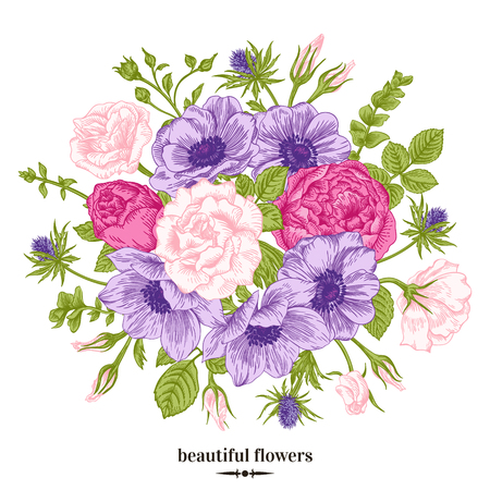 anemones: Vintage romantic vector background with a bouquet of roses, anemones. Botanical illustration. Illustration