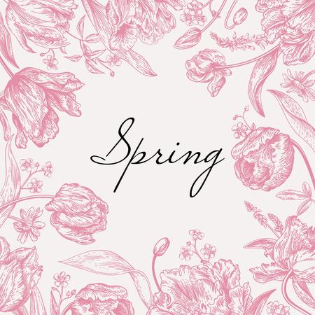 eleganz: Vector Rahmen mit Frühlingsblumen in rosa. Papageientulpen, mich Nichtse, Gänseblümchen.