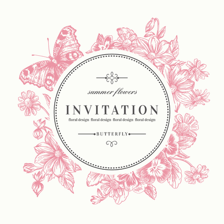 Vector round frame with summer flowers and a butterfly in vintage style. Pansies, daisies, violet, dahlia. Pink flowers.