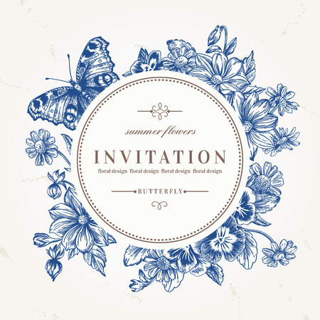 wedding invitation vintage: Vector round frame with summer flowers and a butterfly in vintage style. Pansies, daisies, violet, dahlia. Blue flowers. Illustration