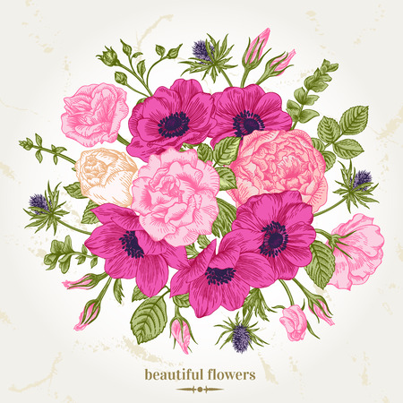 vintage flower: Vintage romantic vector background with a bouquet of roses, anemones. Botanical illustration. Illustration