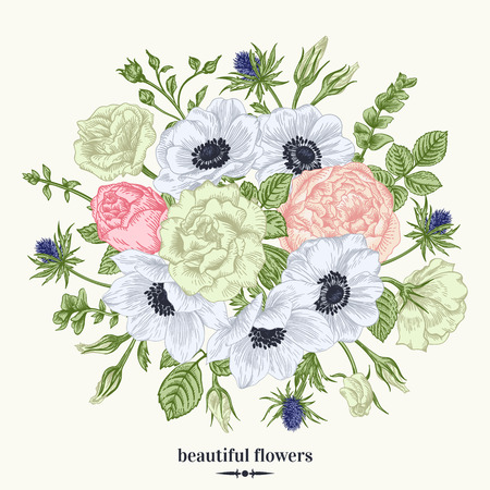 anemone: Vintage card with a bouquet of flowers in pastel colors. Anemone, rose, eustoma, eryngium. Vector illustration.