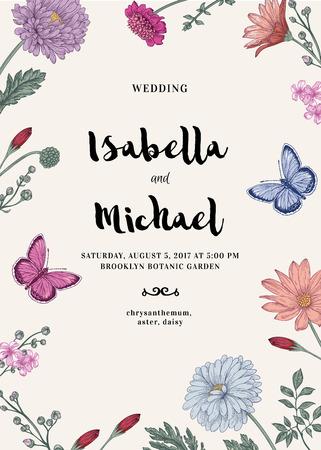 2 つの蝶やパステル カラーの花のベクトル カード。ロマンチックな夏の背景。星状体、菊、デイジー。