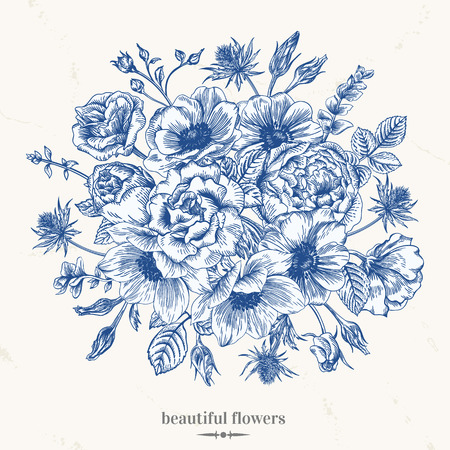 anemones: Vintage romantic vector background with a bouquet of roses, anemones in blue. Botanical illustration.