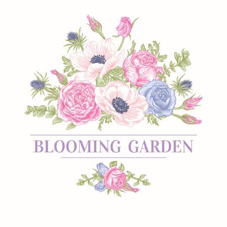 パステル カラーの花の花束とヴィンテージのカード。アネモネ、バラ、トルコギキョウ、エリンジウム。ベクトルの図。