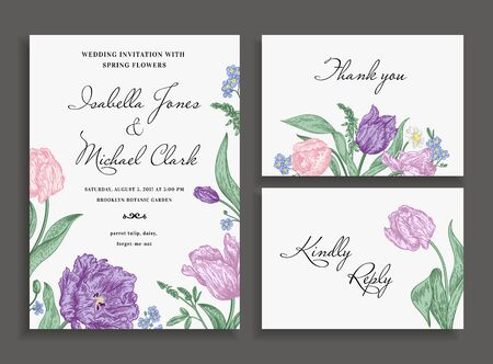 rsvp: Vintage wedding set with spring flowers. Wedding invitation, thank you card. RSVP card. Parrot tulips, daisies, forget-me. Botany. Vector illustration.