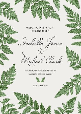 Vintage uitnodiging bruiloft in een rustieke stijl. Leatherleaf varen. Botanische illustratie.