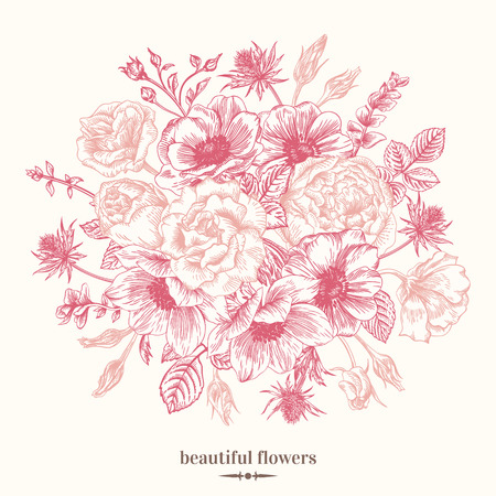rose bouquet: Vintage card with a bouquet of flowers on a white background. Anemone, rose, eustoma, eryngium. Vector illustration of pink. Illustration