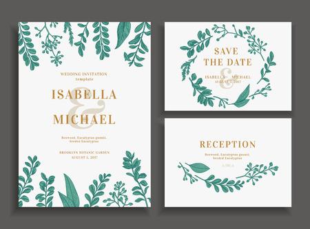 Vintage bruiloft set met groen. uitnodiging van het huwelijk, sparen de datum, ontvangst kaart.