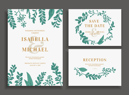 virid: Vintage wedding set with greenery. Wedding invitation, save the date, reception card.