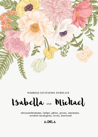 Elegante huwelijksuitnodiging met zomerbloemen in vintage stijl. Chrysanten, tulpen, phlox, pioen, anemoon, varens. Pastelkleuren.