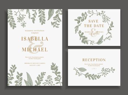 Archiwalne ślubu zestaw z zielenią. Zaproszenie na ślub, zapisać daty, karta odbioru.