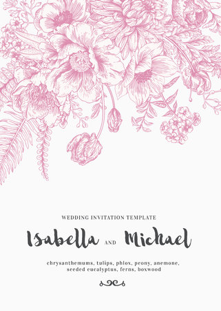 ferns: Elegant wedding invitations with summer flowers in vintage style. Chrysanthemums, tulips, phlox, peony, anemone, ferns. Pink flowers on a white background. Illustration