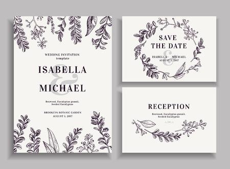 mis en mariage Vintage avec de la verdure. invitation de mariage, faites gagner la date, carte de réception.