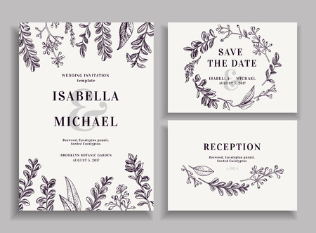 Vintage wedding set with greenery. Wedding invitation, save the date, reception card.
