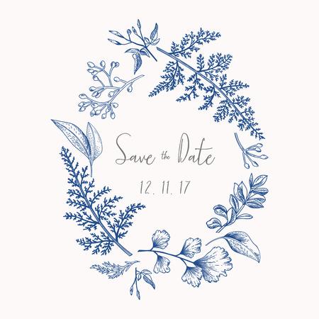 Guirnalda con hierbas y hojas aisladas sobre fondo blanco. En la ilustración botánica azul. Boj, eucalipto, helecho, culantrillo. Reserva. Elementos de diseño.