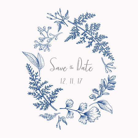 Wreath with herbs and leaves isolated on white background. Botanical illustration In blue. Boxwood, seeded eucalyptus, fern, maidenhair. Save the date. Design elements.