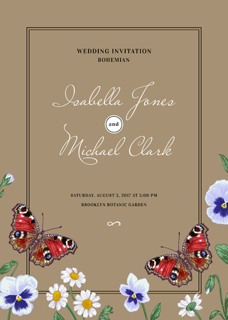 peacock butterfly: Vintage wedding invitation in the bohemian style.Summer flowers and a butterfly. Pansies, daisies, violet, dahlia. Design elements.