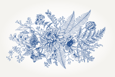 etch: Bouquet with a vintage garden with flowers and leaves.