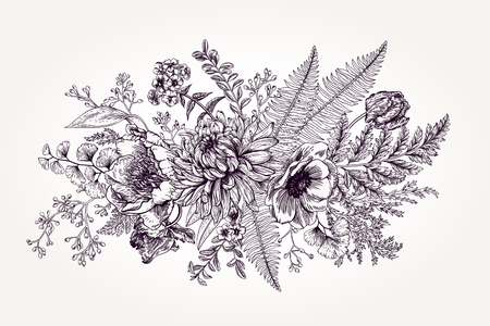 ink drawing: Bouquet with a vintage garden with flowers and leaves.