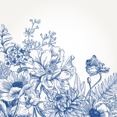 Floral background with vintage flowers. Stock Illustratie