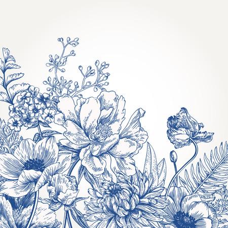 Floral background with vintage flowers. Illustration