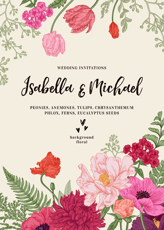Vintage wedding invitation. Summer garden flowers. Peonies, anemones, tulips, phlox, chrysanthemum, ferns, eucalyptus seeds. Botanical illustration. Ilustração