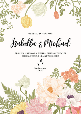 Vintage wedding invitation. Summer garden flowers. Peonies, anemones, tulips, phlox, chrysanthemum, ferns, eucalyptus seeds.