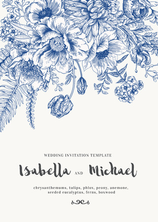 ferns: Elegant wedding Invitations with summer flowers in vintage style. Chrysanthemums, tulips, phlox, peony, anemone, ferns. Blue flowers on a white background.